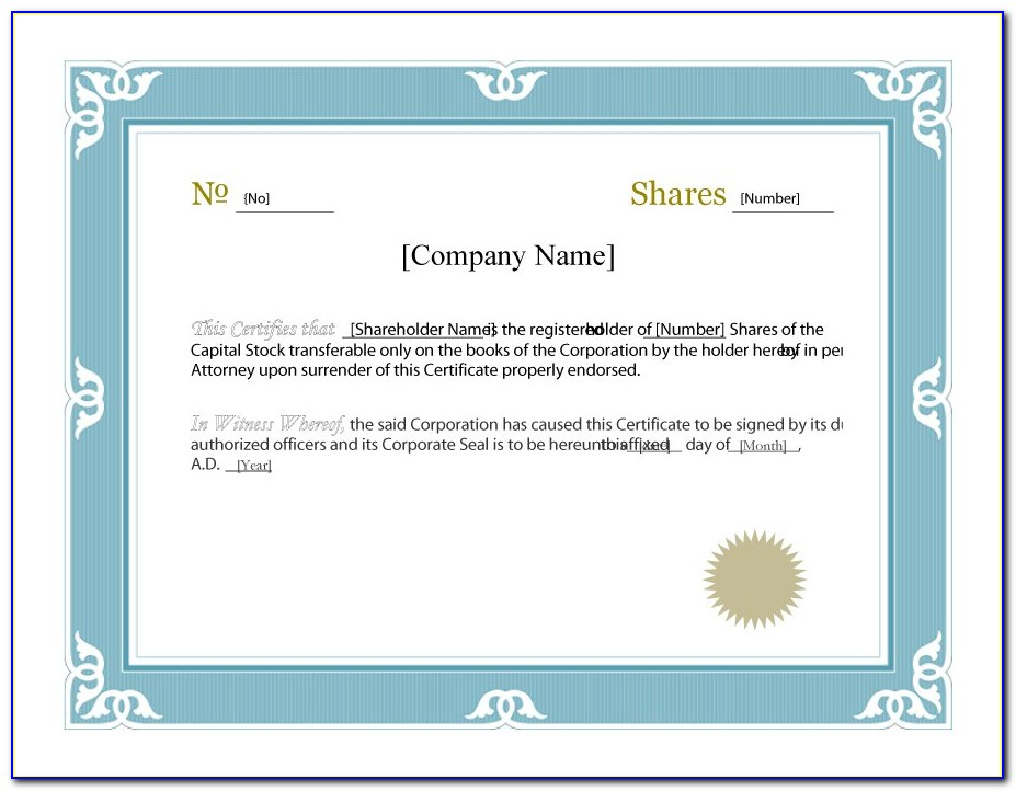 Free Fillable Stock Certificate Template
