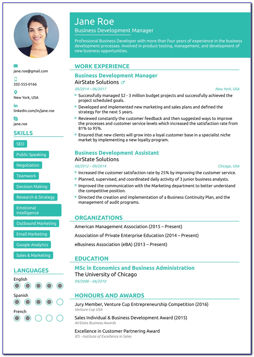 Free Functional Format Resume Template