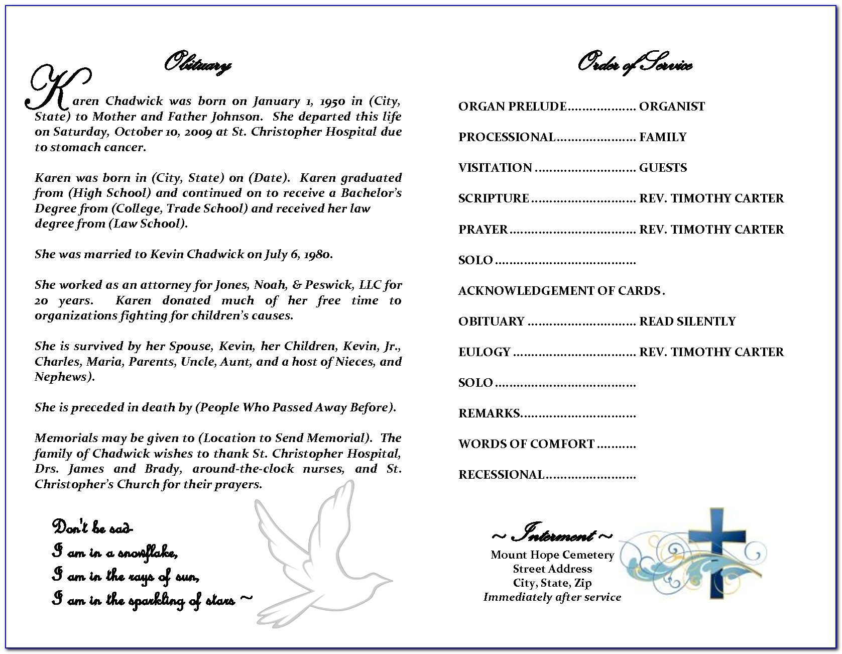 Free Funeral Obituary Template Word
