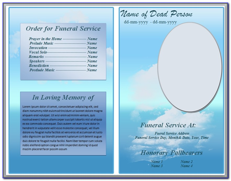 Free Funeral Program Brochure Psd Template
