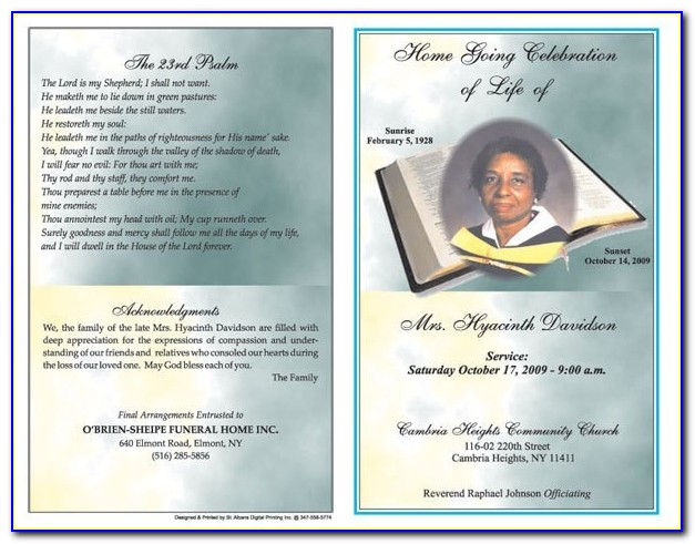 Free Funeral Program Template For Mac