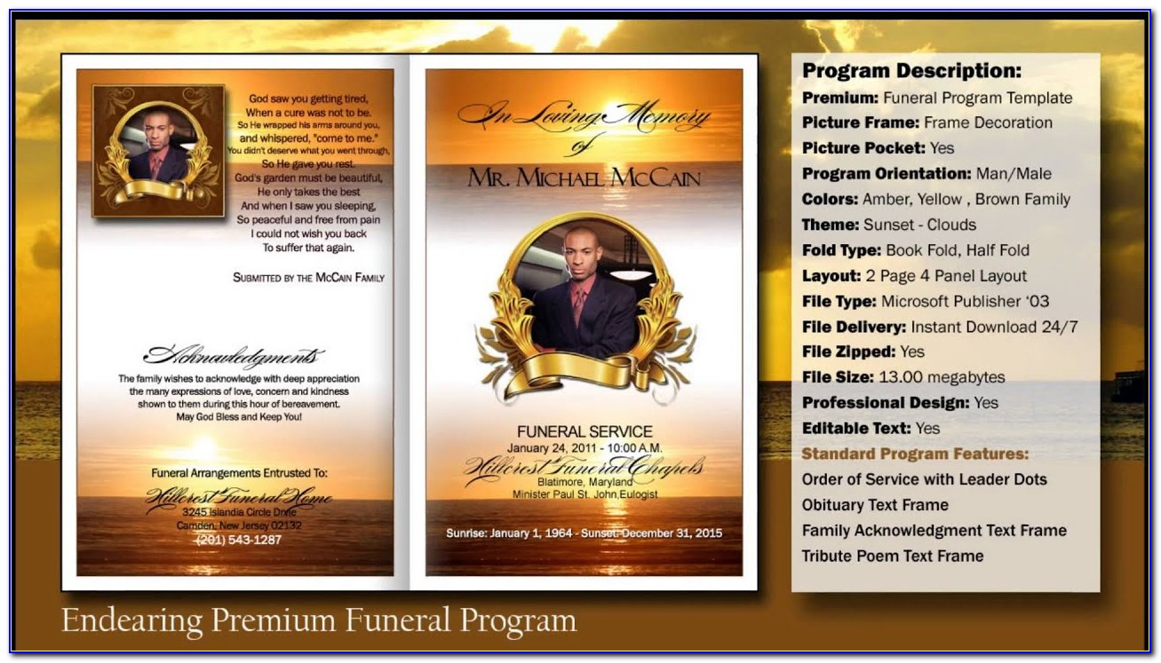 Free Funeral Program Template Word 2007