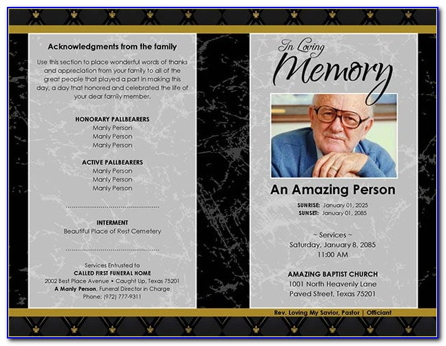 Free Funeral Program Template Word 2010