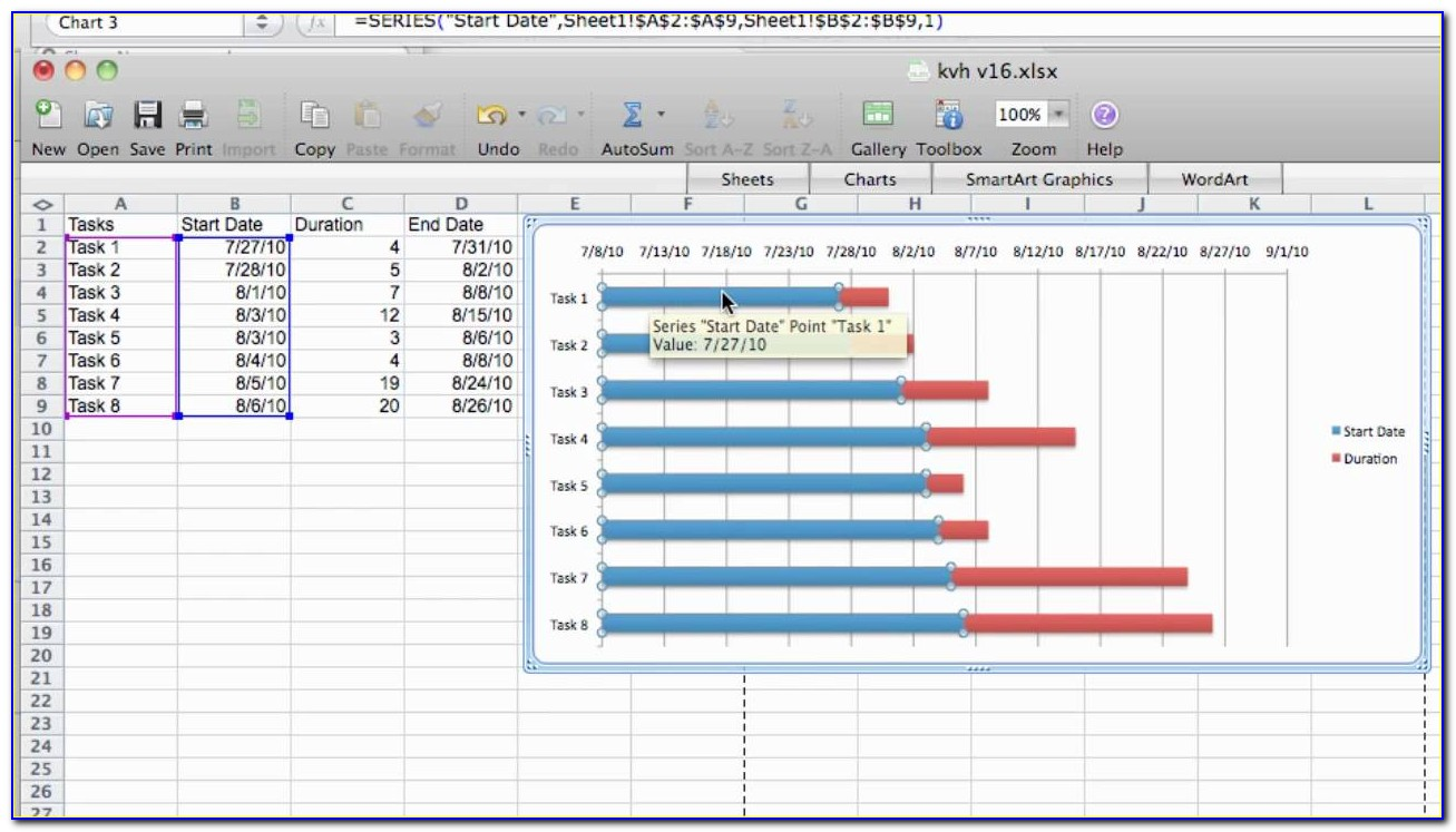 Free Gantt Chart In Excel 2007 Template