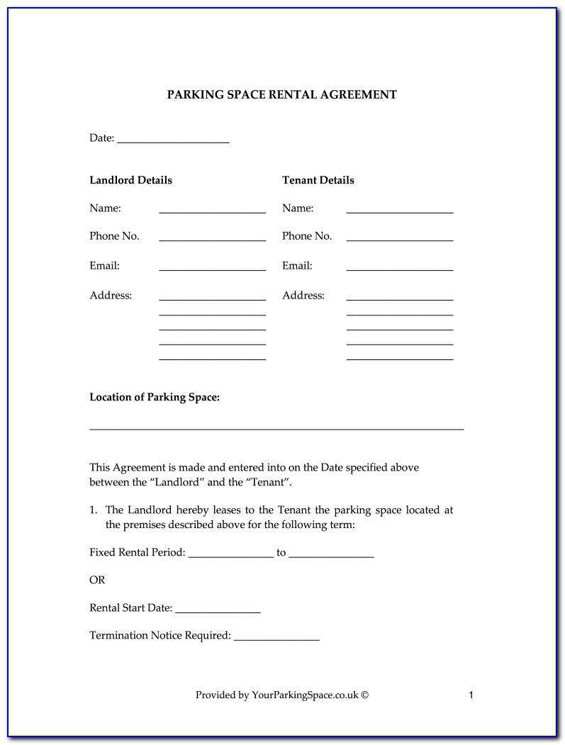 Free Garage Lease Agreement Form Uk