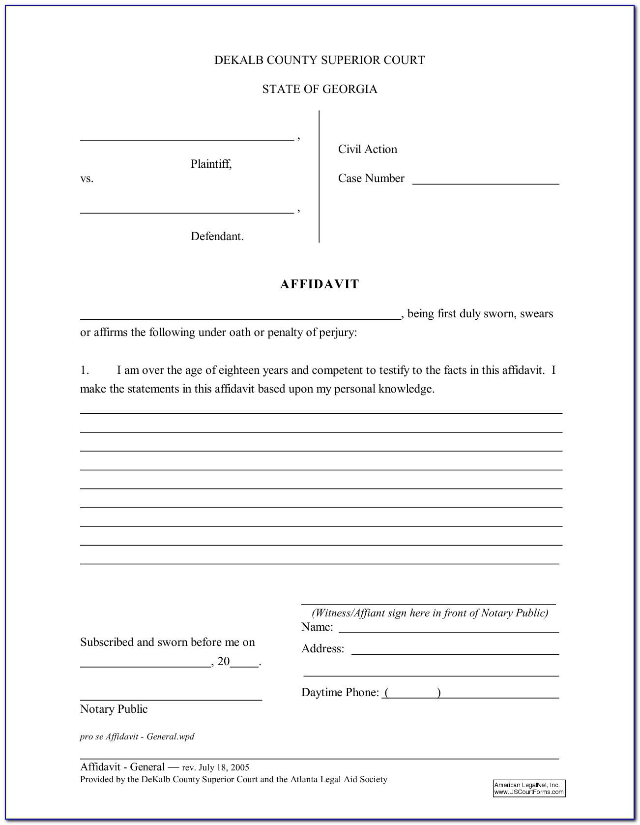 Free General Affidavit Form Australia
