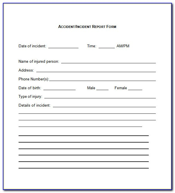 Free Generic Incident Report Form