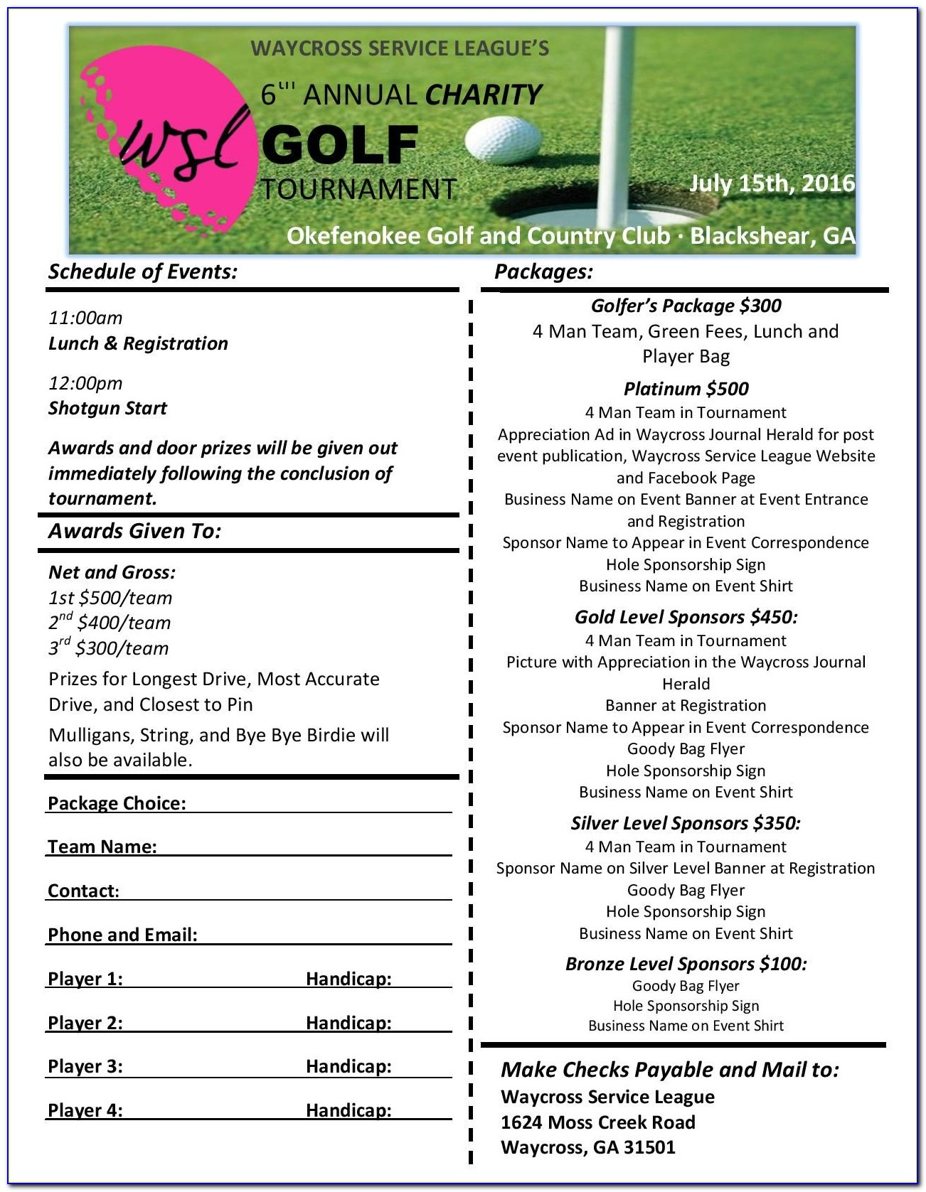 Free Golf Tournament Sign Up Sheet Template