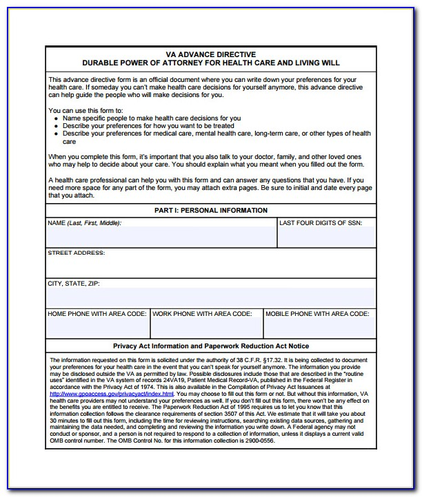Free Health Care Directive Form Florida
