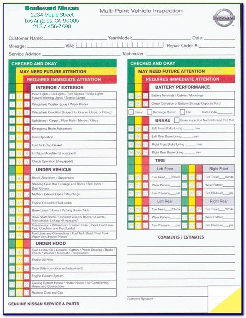 Free Hgv Vehicle Inspection Sheet Template