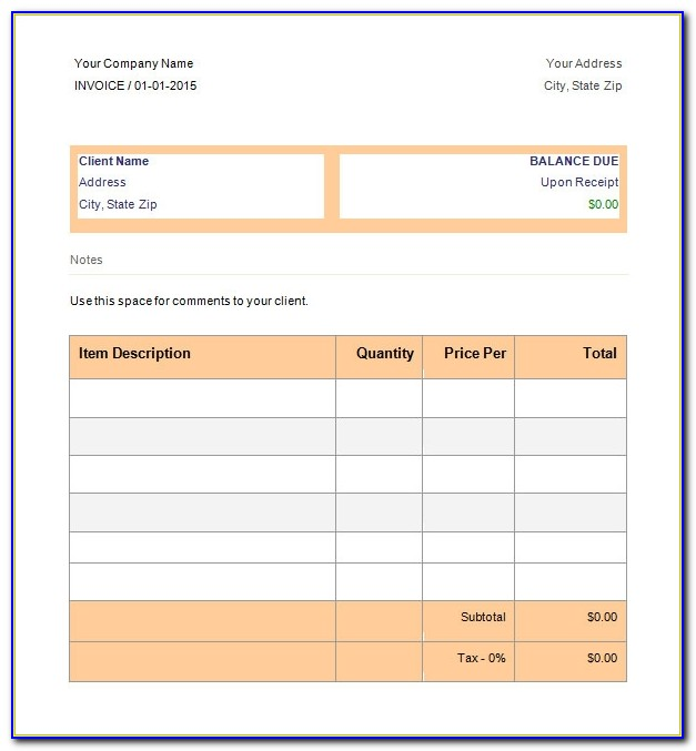 Free Invoice Template Ms Word