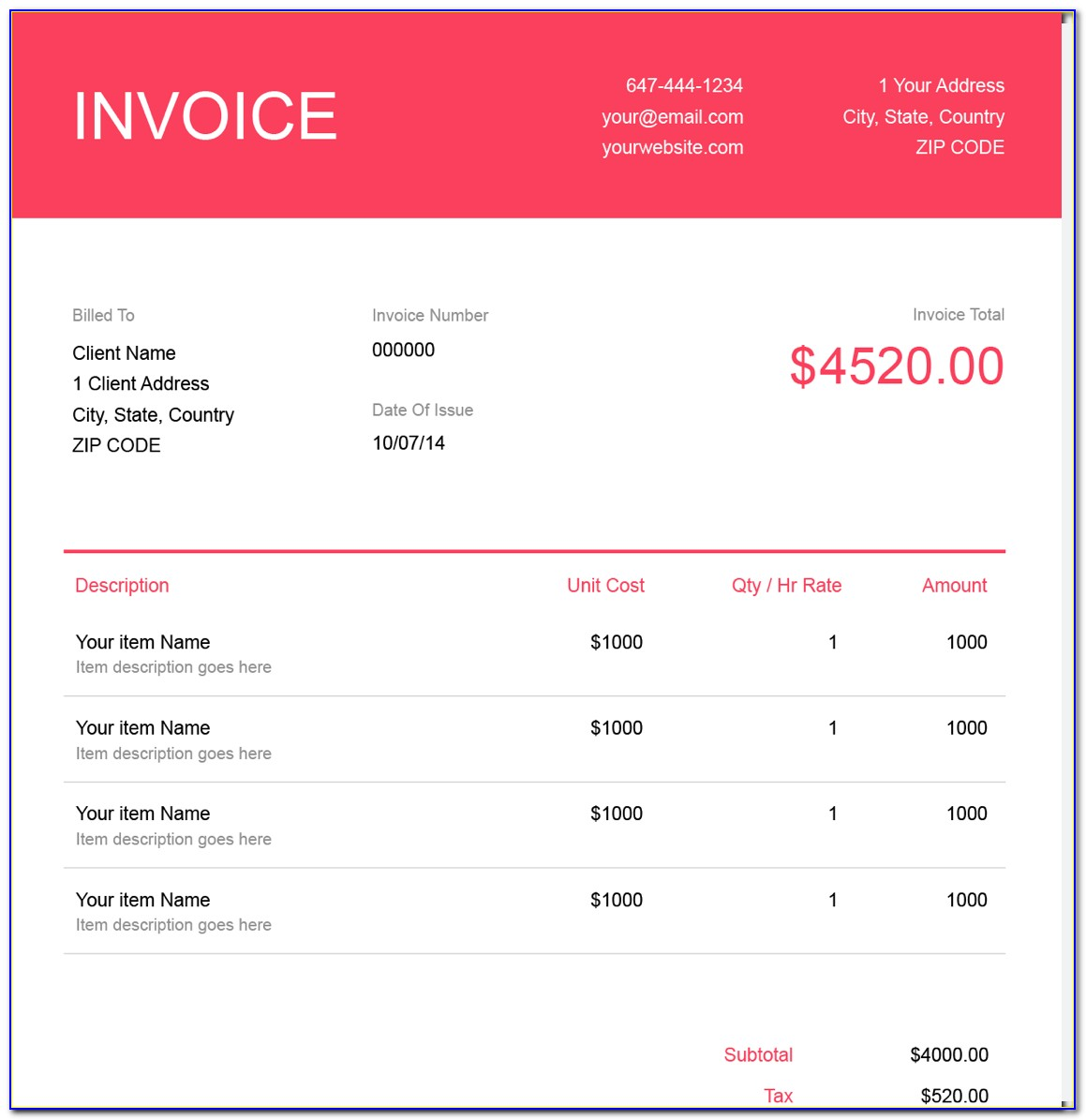 Free Invoices Templates Online