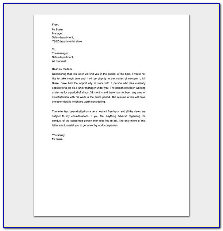 Free Job Recommendation Letter Sample