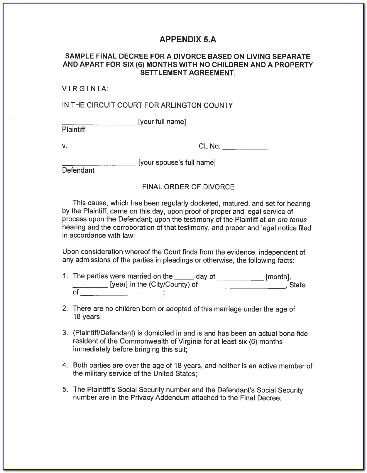 Free Legal Separation Agreement Template Uk