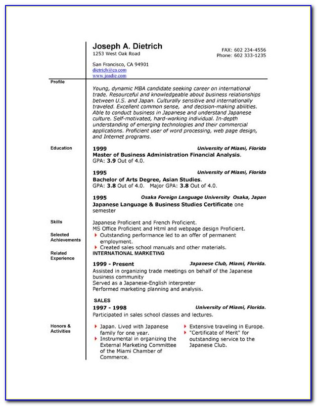 Free Microsoft Office 2010 Resume Templates