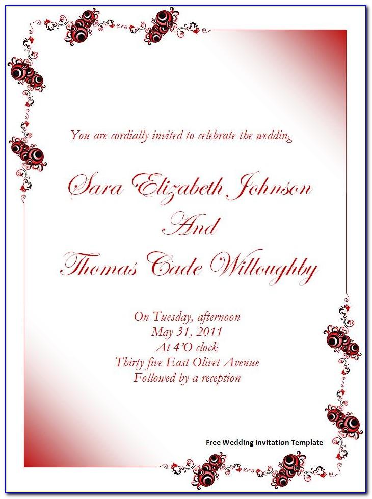 Free Microsoft Word Templates For Wedding Invitations