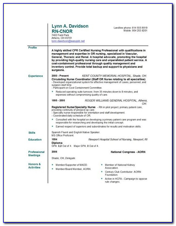 Free Nursing Cv Template Uk