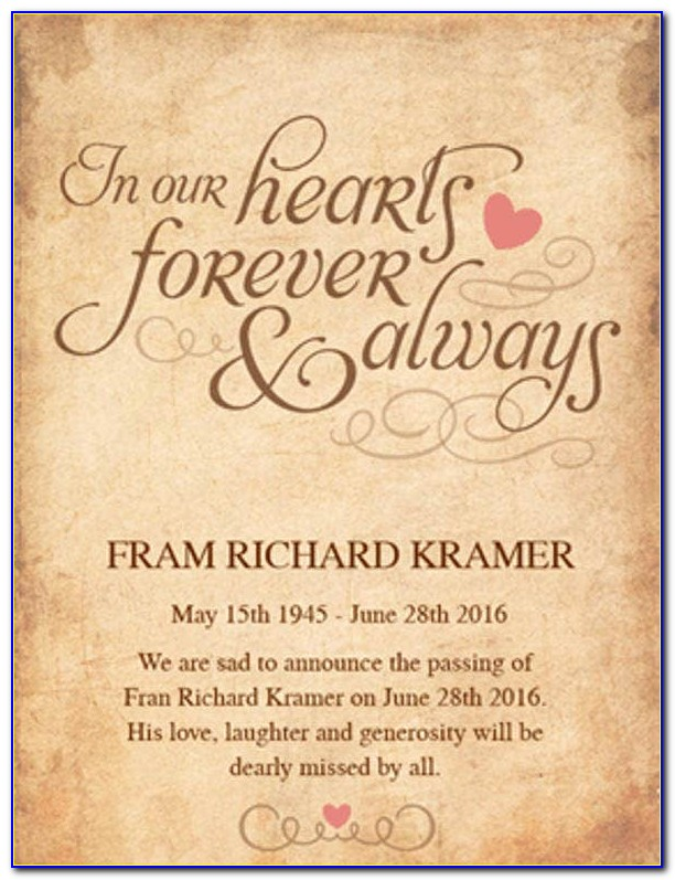 Free Online Funeral Announcement Template