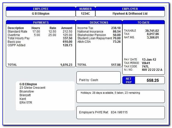 Free Payslip Template Uk