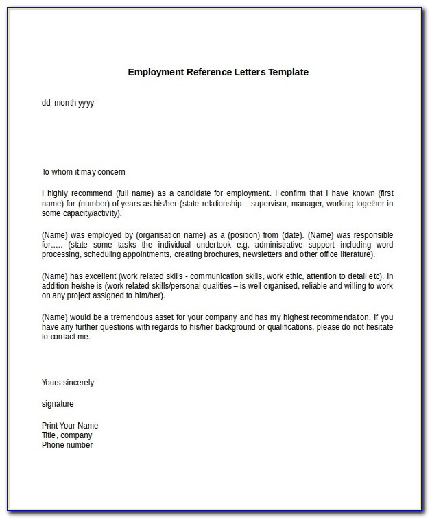 Free Personal Recommendation Letter Sample