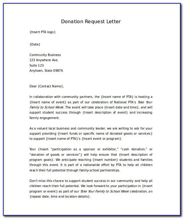 Free Printable Donation Letter Template