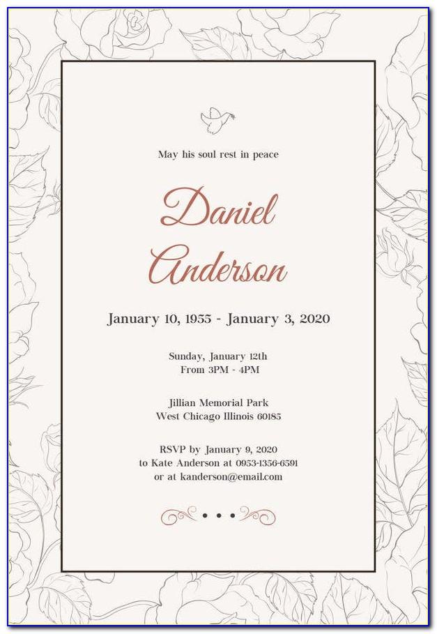 Free Printable Funeral Invitation Template