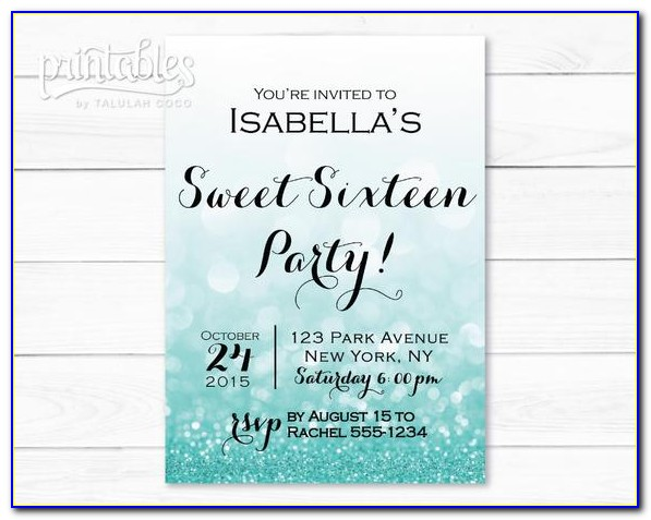 Free Printable Sweet 16 Birthday Invitation Templates