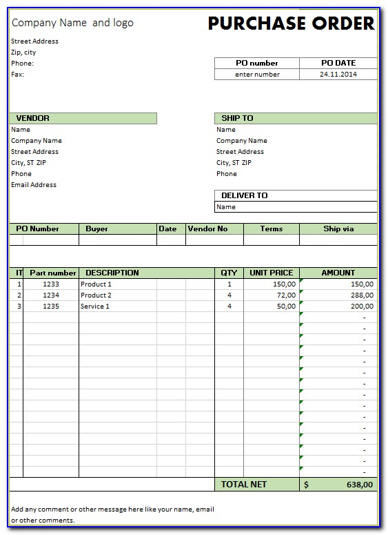 Free Purchase Order Request Form Template