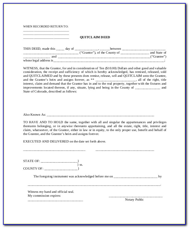 Free Quit Claim Deed Form Florida Pdf