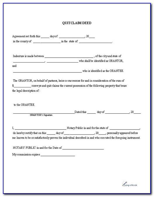 Free Quit Claim Deed Form Florida