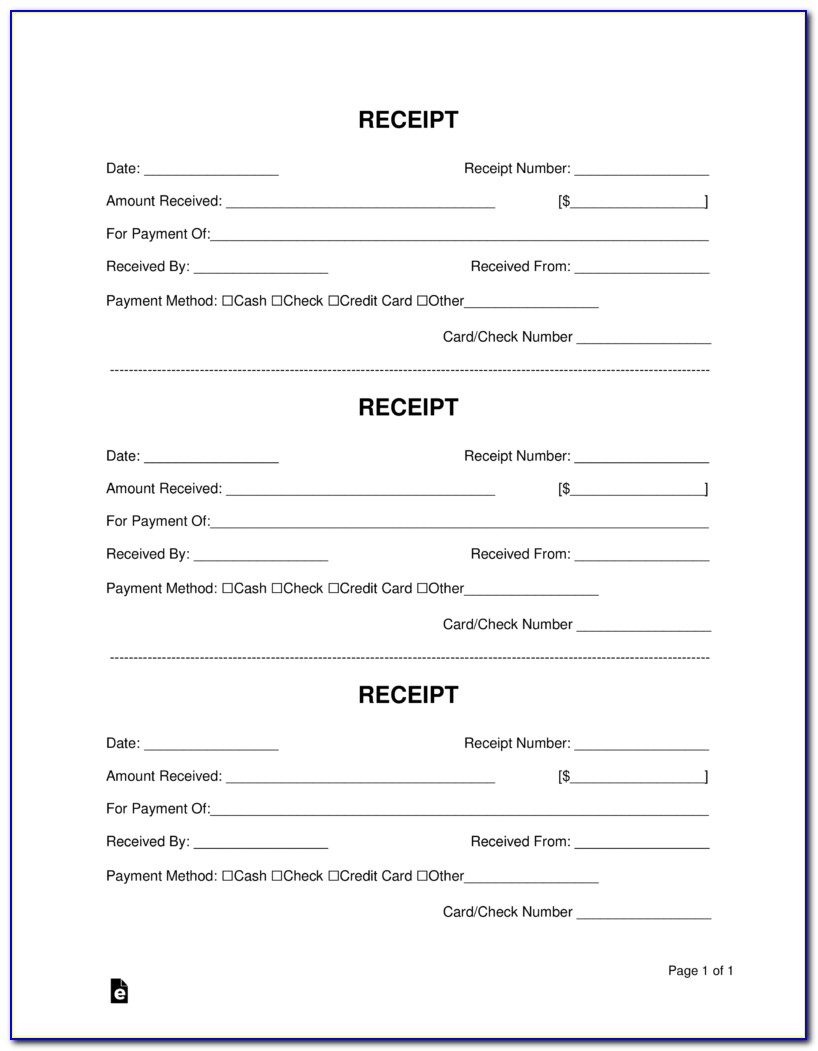 Free Receipt Book Template Word