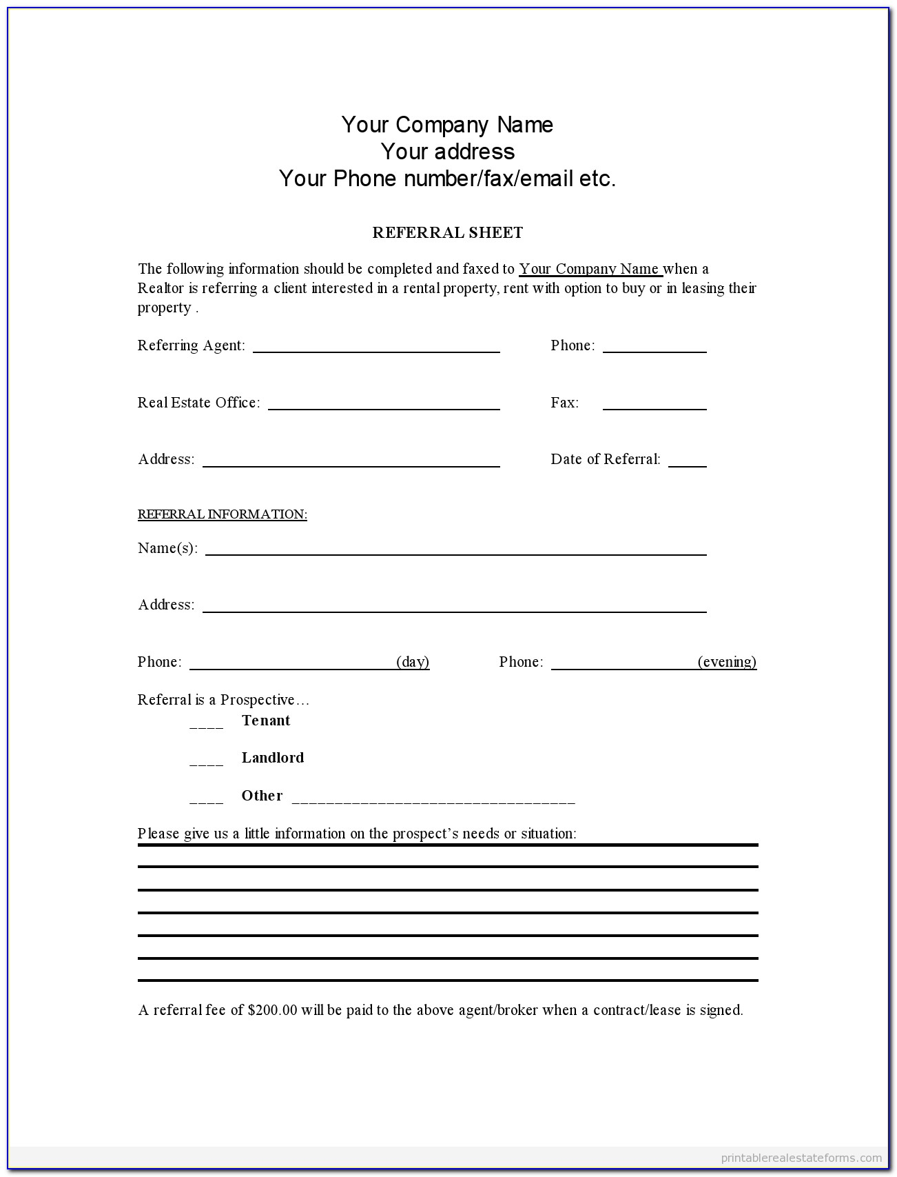 Free Referral Agreement Template