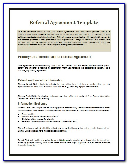 Free Referral Contract Template