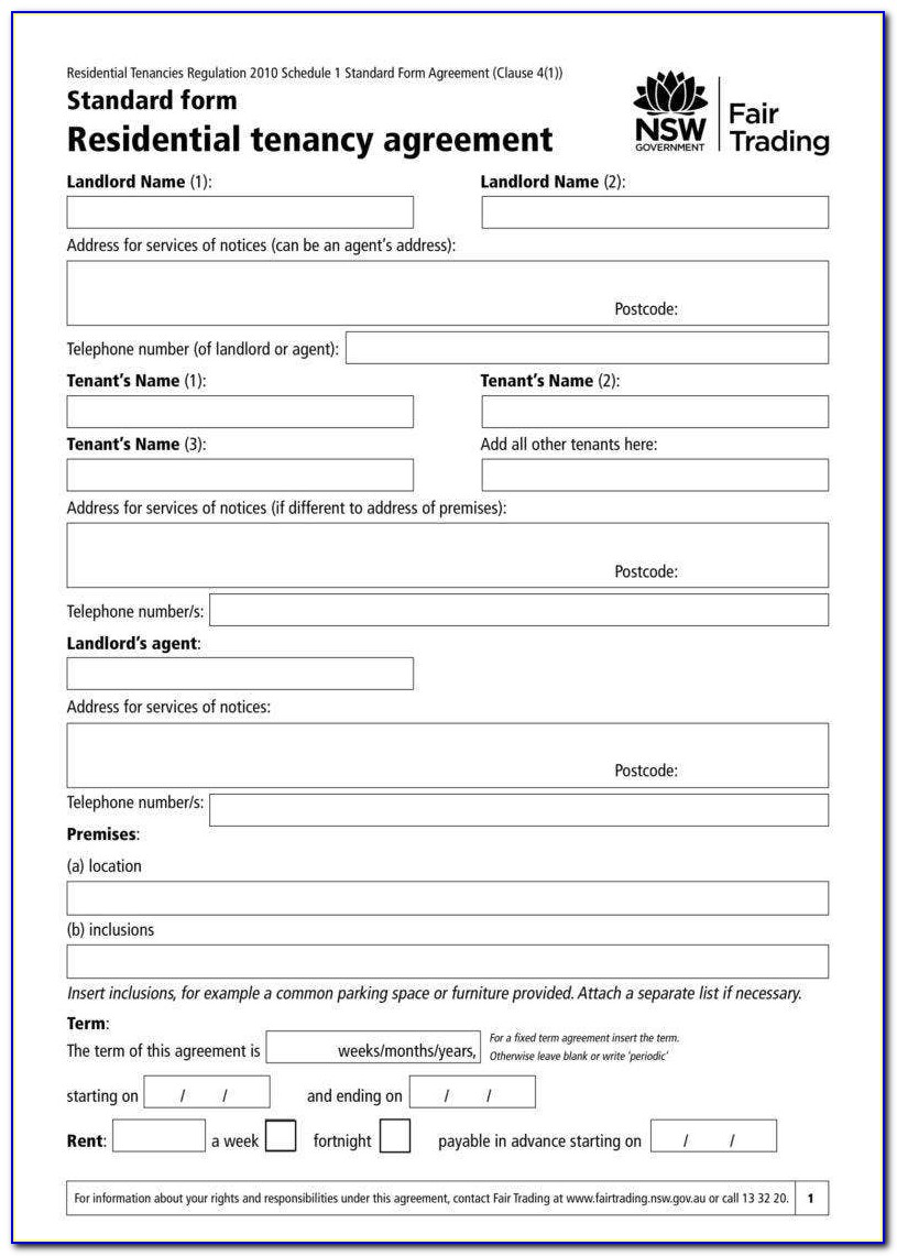 Free Residential Rental Agreement Forms Download