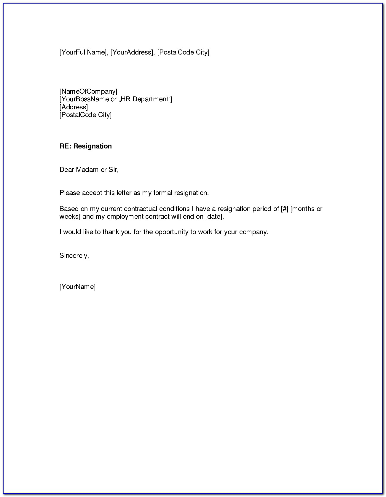 Free Resignation Letter Format In Word