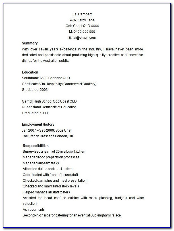 Free Resume Examples To Print