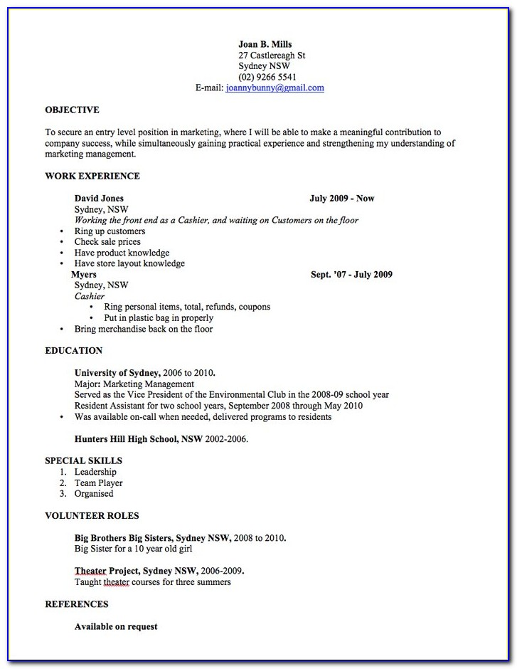 Free Resume Format Australia