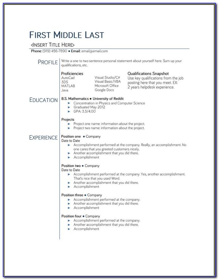 Free Resume Samples Australia
