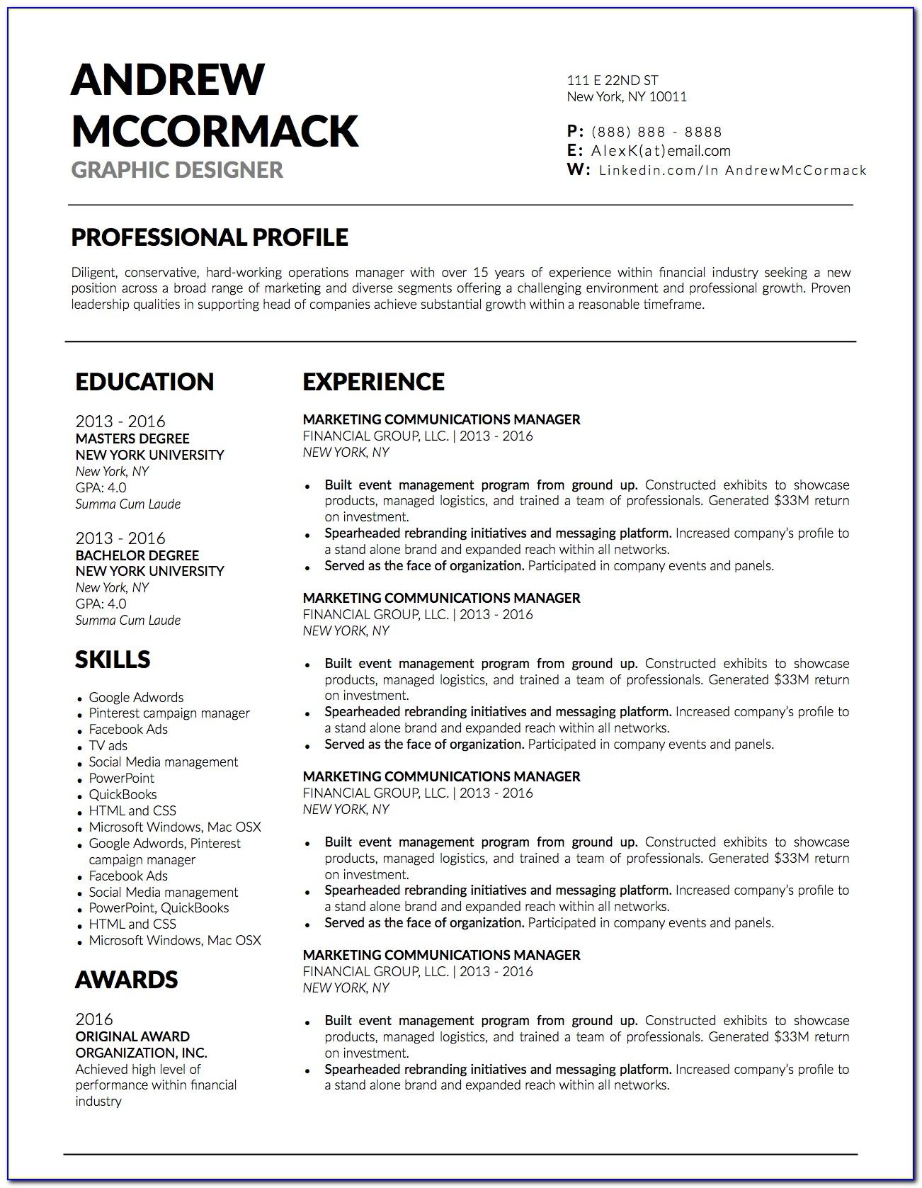 Free Resume Template Adobe Indesign