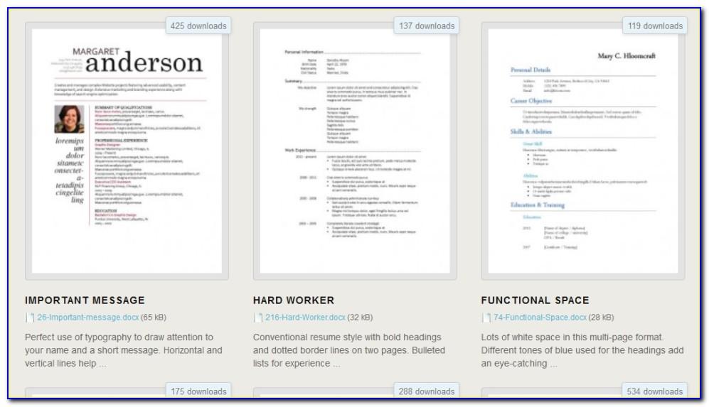 Free Resume Template Au