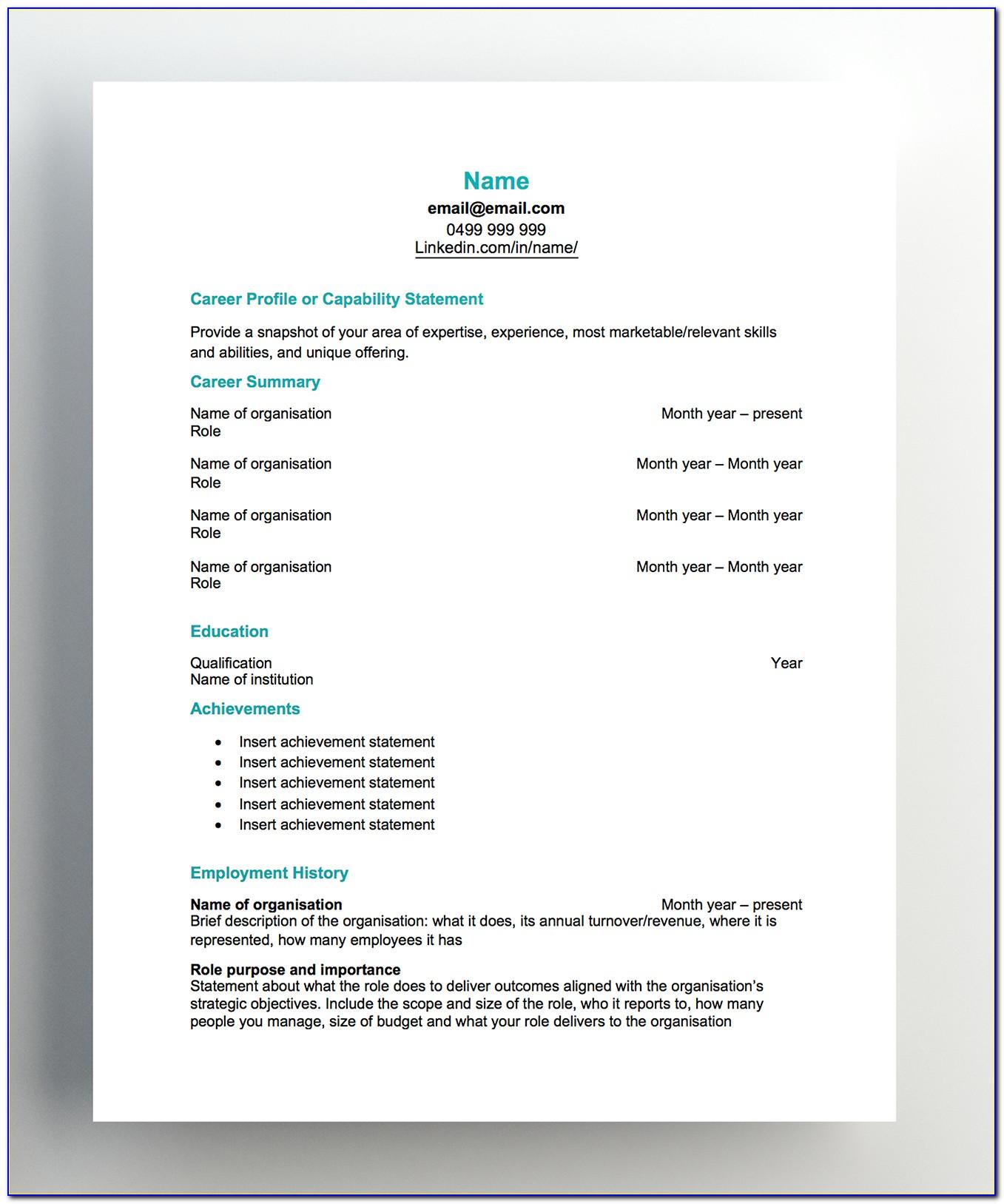 Free Resume Template Australia 2018