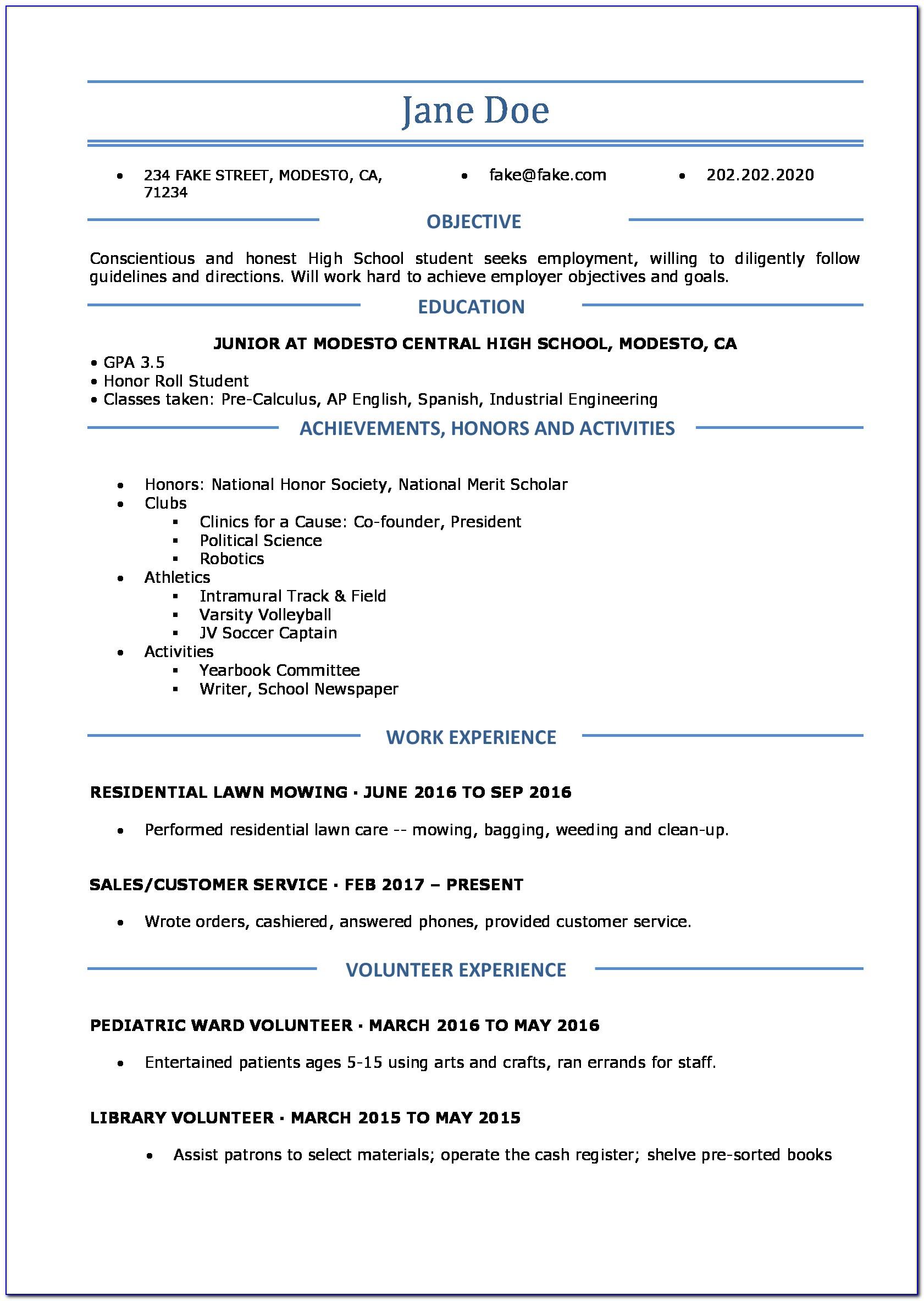 Free Resume Template Doc