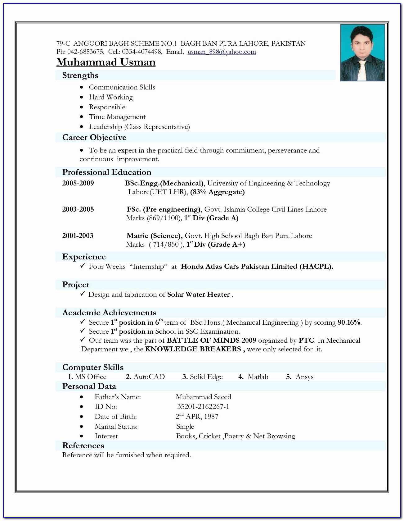 Free Resume Template Download For Microsoft Word