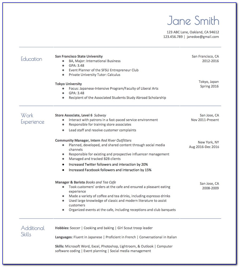 Free Resume Template For Teacher