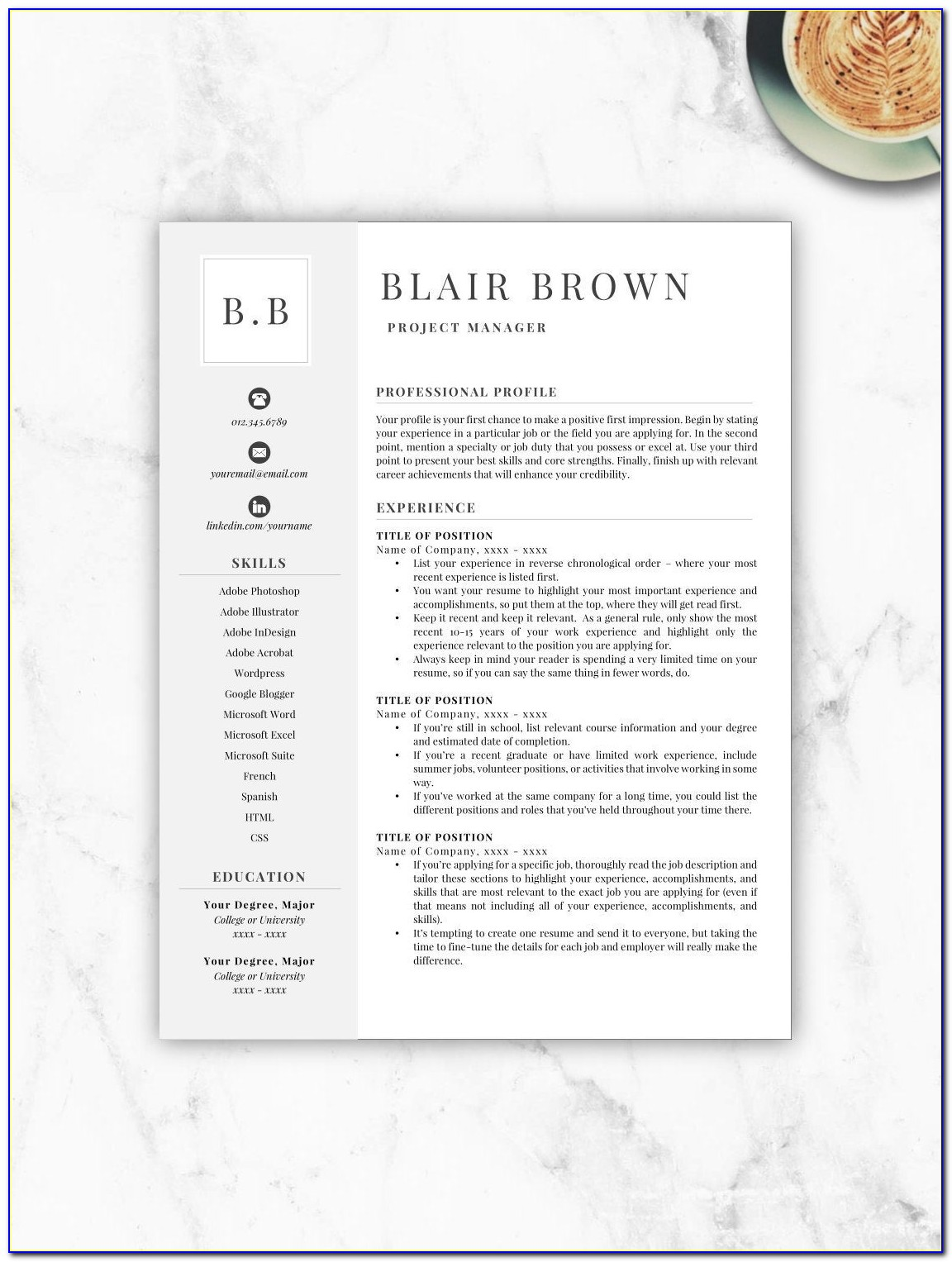 Free Resume Template Indesign