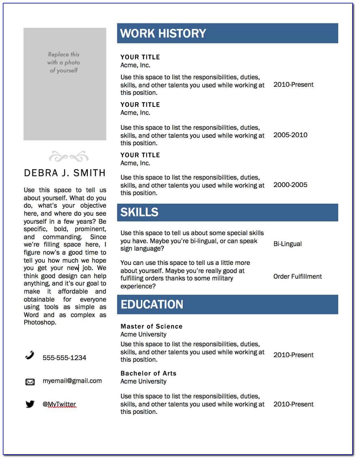 Free Resume Template Word 2017