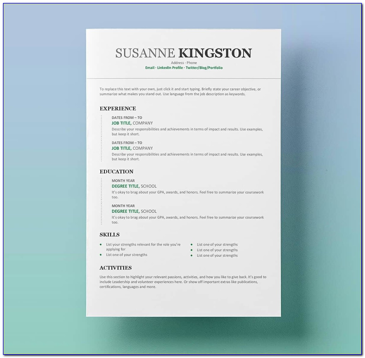 Free Resume Template Word Docx