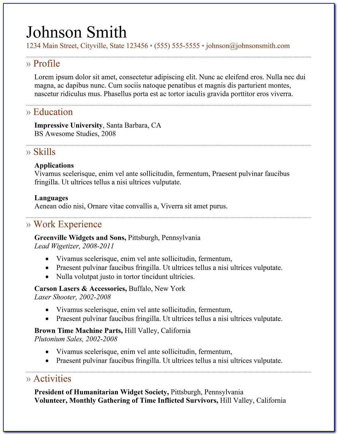 Free Resume Templates For Veterans