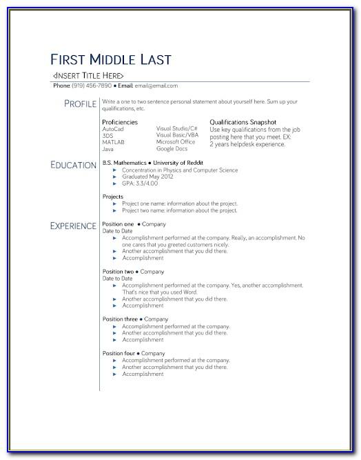 Free Resume Templates For Windows Vista