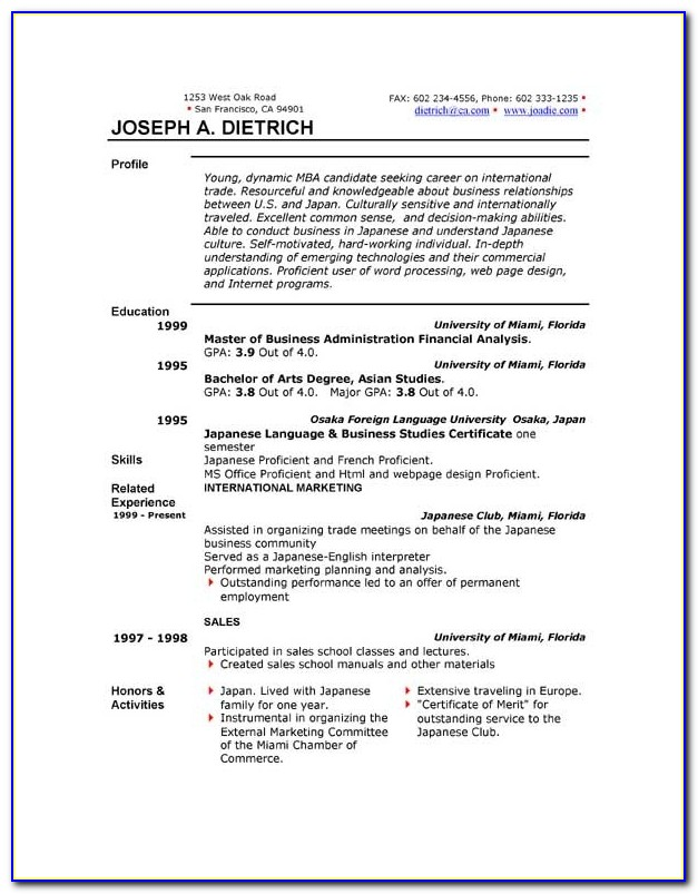 Free Resume Templates Microsoft Office 2010